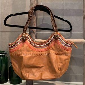 Tan boho handbag w/ embroidery